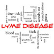 Lyme Disease Word Cloud Concept in red caps