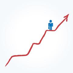 グラフを登る会社員
