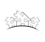 Vector illustration of the three houses isolated on white backgr