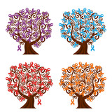 vector illustration of a set of awareness ribbons trees