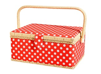 red and white speckles dotted basket