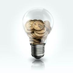 A light bulb with a Dollar coins  inside