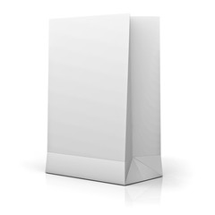 Blank White Paper Bag isolated over white background