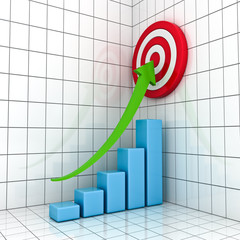 Business Graph with green rising arrow and red target concept