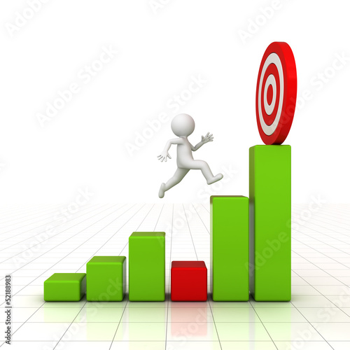 3D Man jumping across the problem to successful goal on graph