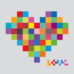 Heart of color pixels. Heart bit.