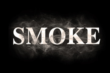 Blur smoke text over black background