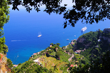 Aerial view of the rugged coastline from Ravello, Italy