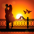 Silhouette Of Couple In Love K...