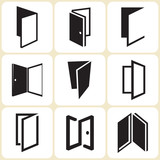 door icons set