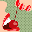 Pop art sensual female mouth with a cherry.