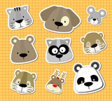baby animals vector stickers