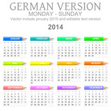 2014 German vectorial calendar with crayons