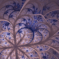 Beautiful fractal flower in blue and gray.