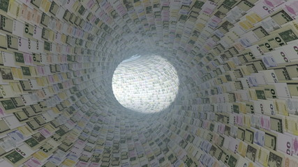 Various currencies tunnel fly through, light bloom