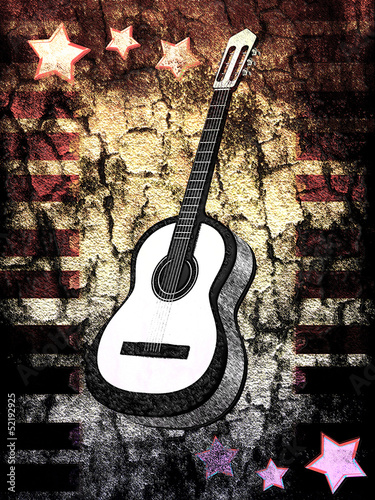 Grunge background with a guitar