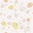 Seamless vector pattern with flowers and leaves
