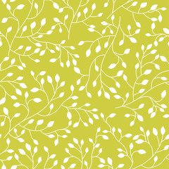 Seamless floral vector pattern with plant