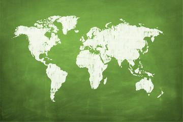 Weltkarte auf Tafel