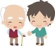微笑むおじいさんと若い男性