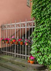 Idyllischer Hauseingang mit geschmücktem Metallzaun