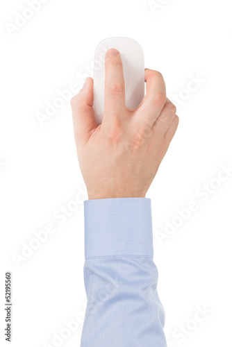 Man's hand in a shirt on a modern wireless glass touch mouse.