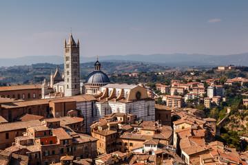 Aerial View on Siena and Santa Maria Cathedral, Tuscany, Italy