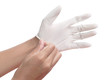 Hands in sterile gloves