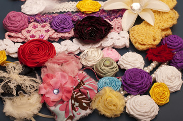 Fabric flowers and headbands