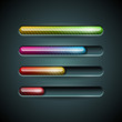 Vector shiny progress indicator set on a dark background.