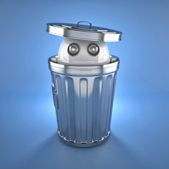 Android robot inside trash bin.