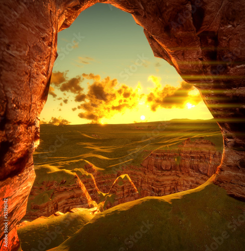 Plakat 3d render of Monument valley sunset