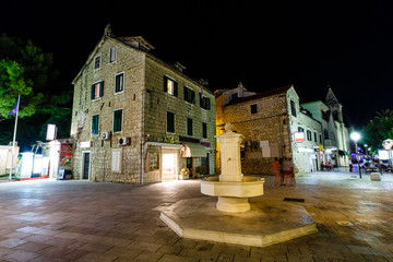 Night Street and Fountain in Makarska, Croatia