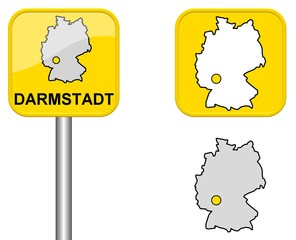 Darmstadt - Ortsschild, Button und Deutschlandkarte