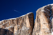 Cliffs on Peak Vallon at Ski Resort of Corvara, Alta Badia, Dolo