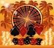 Summer poker time wallpaper, vector illustration