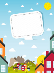 Banner with small town. Vector illustration.