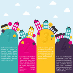 Banners with small town. Vector illustration.