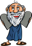 Cartoon Moses with the Ten Commandments poster