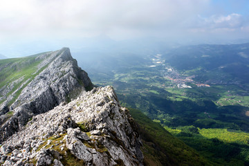 view of valley near aizkorri mountains, Basque Country