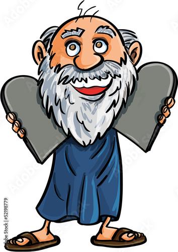 Cartoon Moses with the Ten Commandments