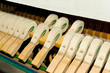 Upright piano hammers detail