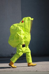 Fireman with a suit for protection from the risk of biological a