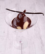 pear with chocolate sauce
