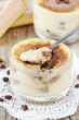 Delicious Italian dessert Tiramisu in a glass bowl