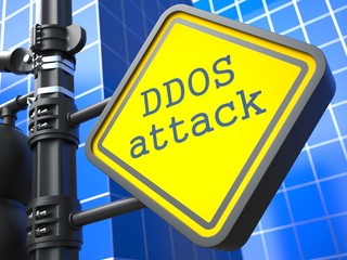 Internet Concept. DDOS Attack Roadsign.