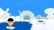 cute Eskimo boy rutscht und tanzt auf dem Eis