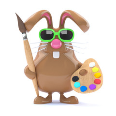 Chocolate bunny paints your picture