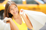 Fototapety Shopping woman in New York City - summer shopper