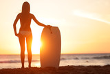 Water sport bodyboarding surfer woman beach travel